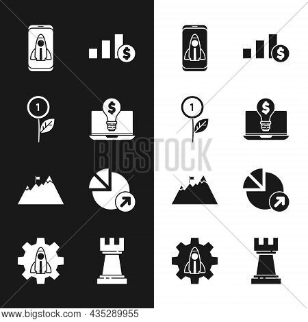 Set Light Bulb With Dollar On Laptop, Dollar Plant, Startup Project Concept, Pie Chart And, Mountain