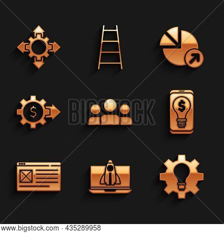 Set Users Group, Startup Project Concept, Light Bulb And Gear, With Dollar Mobile, Browser Window, G
