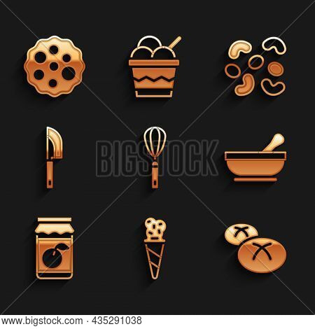 Set Kitchen Whisk, Ice Cream In Waffle Cone, Bread Loaf, Mortar And Pestle, Jam Jar, Knife, Jelly Ca