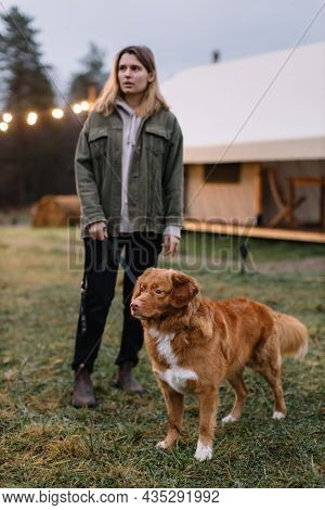 Pretty Caucasian Girl With Brown Nova Scotia Duck Tolling Retriever Staying On Wooden Pier With Her
