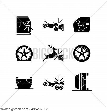 Common Car Crashes Black Glyph Icons Set On White Space. Rollover Accidents. Wildlife Vehicle Collis