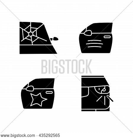 Auto Accident Types Black Glyph Icons Set On White Space. Windscreen Damage. Door Panel Dents. Scrat