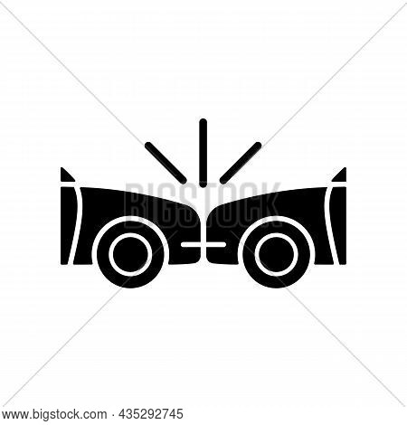 Head-on Collision Black Glyph Icon. Frontal Crash. Two Vehicles Collide Into One Another. Cars Drivi
