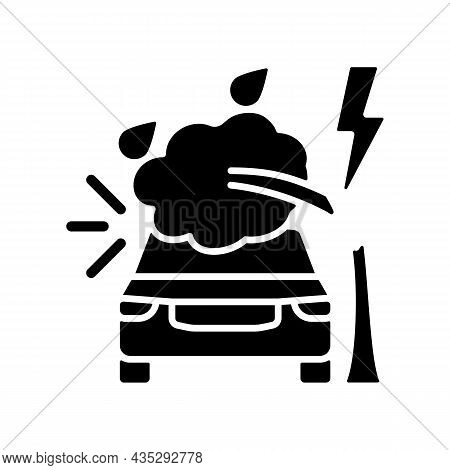 Weather Related Damage Black Glyph Icon. Tree Falling On Car. Outdoor Parking. Windscreen Damage. St
