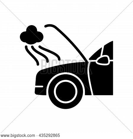 Car Engine Damage Black Glyph Icon. Front End Collision. Mechanical Breakdown. Vehicle Body, Frame D