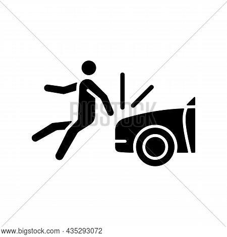 Collision Involving Pedestrian Black Glyph Icon. Roadway Crash. Hitting Walker By Car. Pedestrian In