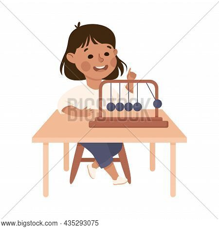 Little Girl Working On Physics Science Experiment With Pendulum Vector Illustration