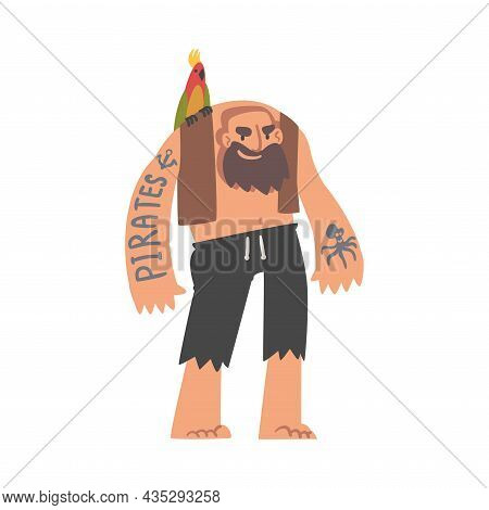 Bearded Brutal Man Pirate Or Buccaneer Character With Parrot On His Shoulder And Tattooed Arm As Mar
