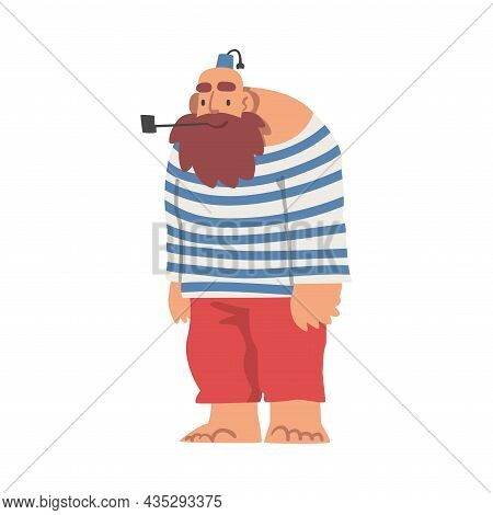 Bearded Brutal Man Pirate Or Buccaneer Character In Striped Vest Smoking Pipe As Marine Robber Vecto