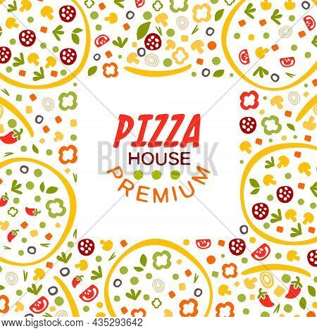 Square Banner For Pizza House Or Pizzeria Vector Template