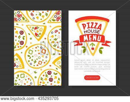 Pizza House Or Pizzeria Menu Vector Vertical Template