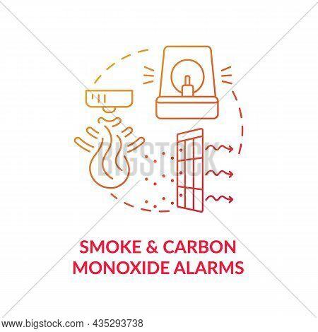 Smoke And Carbon Monoxide Alarms Blue Gradient Concept Icon. Combination Alarm Abstract Idea Thin Li