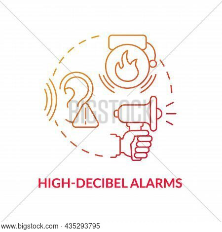High Decibel Alarms Blue Gradient Concept Icon. Loud Siren Alarm Abstract Idea Thin Line Illustratio