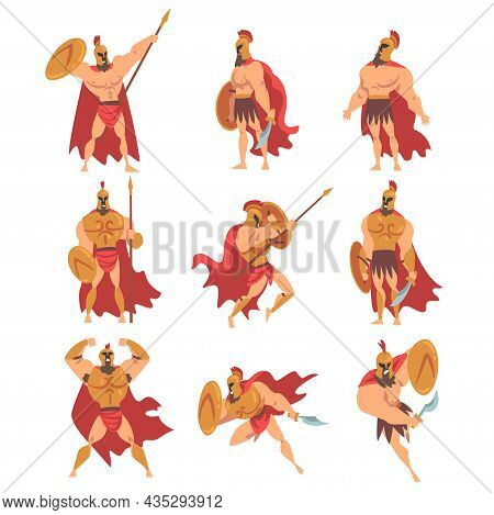 Spartan Man In Red Cloak And Helmet Armed With Spear And Shield Standing And Attacking Vector Set