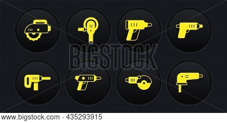 Set Electric Drill Machine, Cordless Screwdriver, Angle Grinder, Jigsaw And Circular Icon. Vector