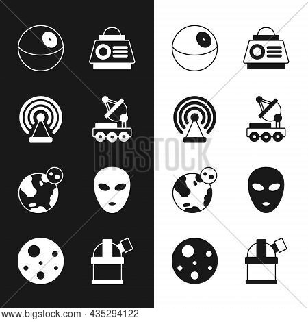 Set Mars Rover, Radar, Planet, Space Capsule, Earth Globe, Alien, Astronomical Observatory And Icon.