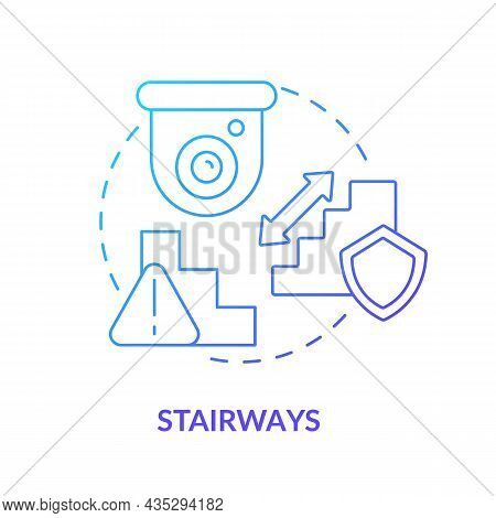 Stairways Blue Gradient Concept Icon. Smart House Security Abstract Idea Thin Line Illustration. Pla