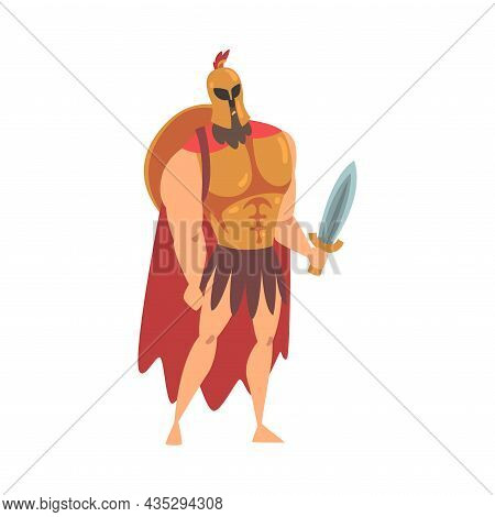 Spartan Man In Red Cloak And Helmet Armed With Sword And Shield Standing Vector Illustration