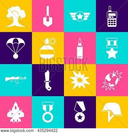 Set Military Helmet, Bomb Explosive Planet Earth, Reward Medal, Star American Military, Hand Grenade