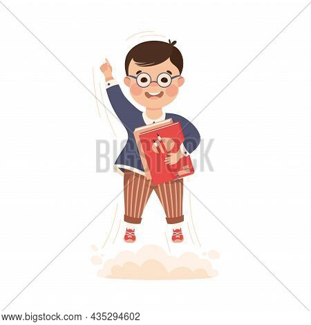 Superhero Little Boy At School Flying Up With Books Achieving Goal And Gaining Knowledge Vector Illu