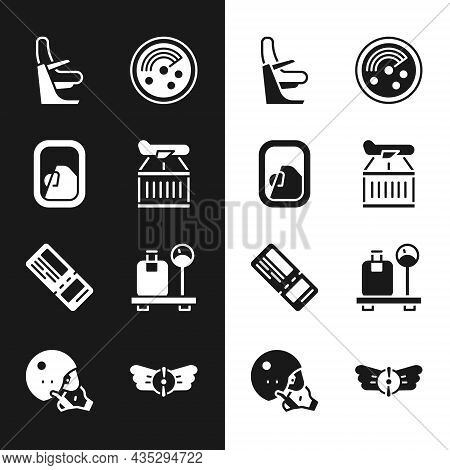 Set Plane, Airplane Window, Seat, Radar With Targets On Monitor, Airline Ticket, Scale Suitcase, Avi