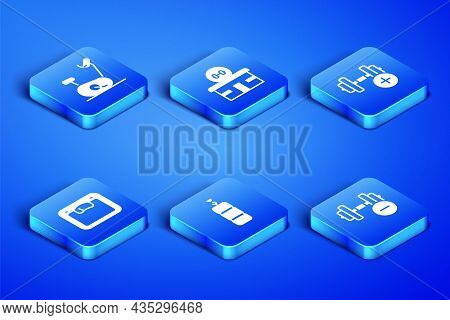 Set Dumbbell, Stationary Bicycle, Punching Bag, Bathroom Scales, Gym Building And Icon. Vector