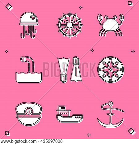 Set Jellyfish, Ship Steering Wheel, Crab, Periscope, Flippers For Swimming, Wind Rose, Captain Hat A