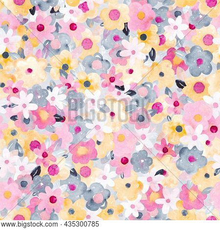 Watercolor floral pattern with pink, yellow and gray flowers. Perfect for fabric, textile, apparel. Cute seamless pattern. Great for nursery fabric, textile.