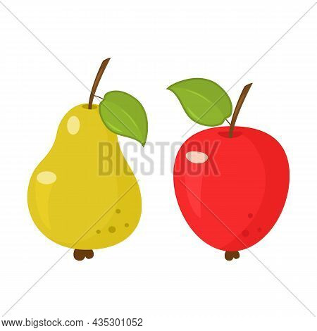 Set Of Fruits From Apple And Pear. Icons Isolated On White Background. Vector Illustration