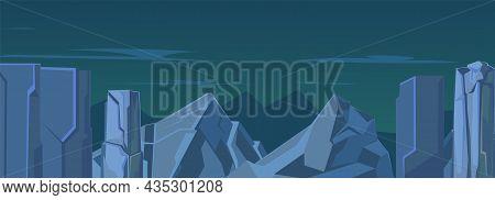 Rocky Cliffs. Night Dark Natural Landscape With Stones. Illustration In Cartoon Style Flat Design. D