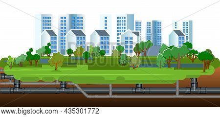 Pipeline For Various Purposes. Engineering Town Buildings. Underground Part Of System. Isolated Illu