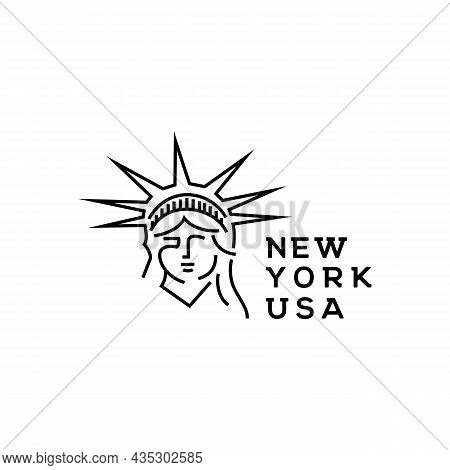 Line Art Statue In New York Logo Design Template. Statue Vector Illustration