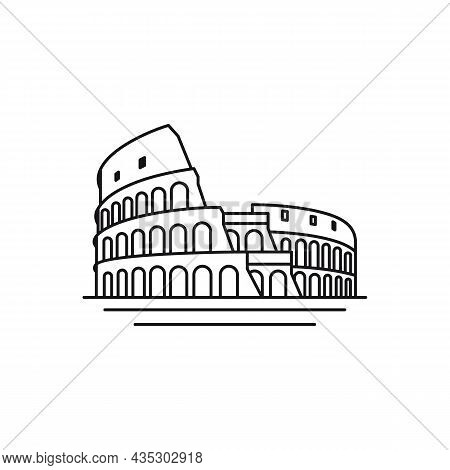 Line Art Vector Logo Of The City Of Rome, Italy Logo Design Vector Illustration