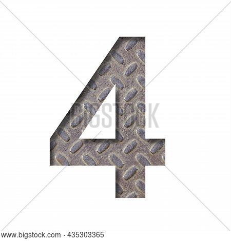 The Number Four, 4 Is Cut From White Paper Against The Background Of An Industrial Sheet Of Rusty St