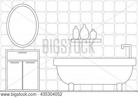 Cartoon Cute Doodles Hand Drawn Bathroom Illustration. Line Art Background. Coloring Page For Kids A