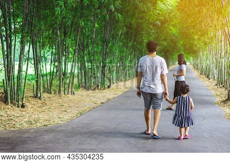 Back View Of Asian Father Hand Holding Lovely Daughter Walking On Pathway Through Bamboo Garden.dad