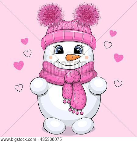 Cute Cartoon Snowgirl In Hat And Scarf. Winter Vector Illustration Of A Snowman On Pink Background W