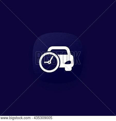 Ride Time Icon, Car And Clock Vector