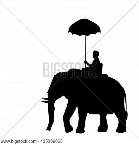 Silhouette Elephant With Rider. Elephant Festival. Pooram Festival. Illustration Symbol Icon