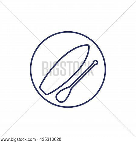 Sup Board With Paddle Outline Icon, Vector