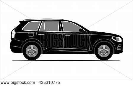 Modern Suv Car Flat Icon. Black Illustration Isolated On A White Background. Vehicle Sign View From