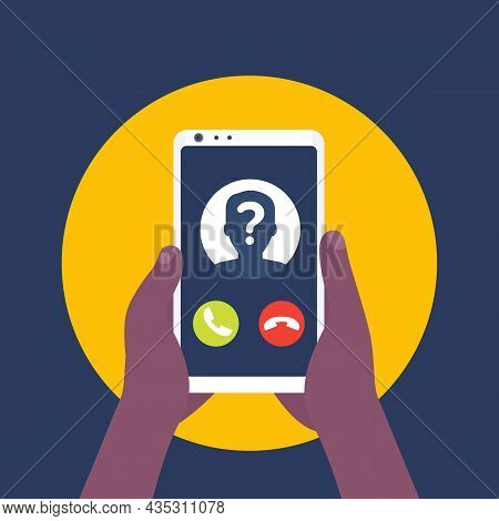 Unknown Caller Or Phone Call Vector Icon