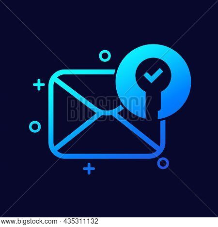 Encrypted Message, Protected Mail Icon, Vector Art