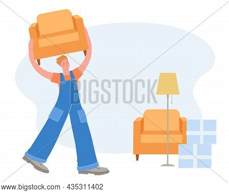 Male Furniture Loader In Uniform Carries A Chair. Moving To New House. Vector