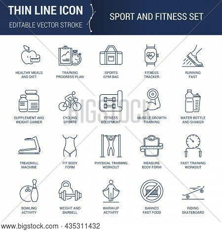Icons Set Of Sport And Fitness. Editable Vector Stroke. Premium Mono Linear Plain Laconic Logo