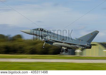 Leeuwarden Netherlands Oct. 4 2021: A German Ef2000 Landing