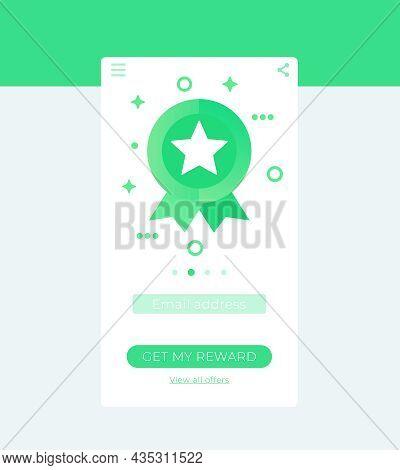 Rewards App, Mobile Ui Design In Vector