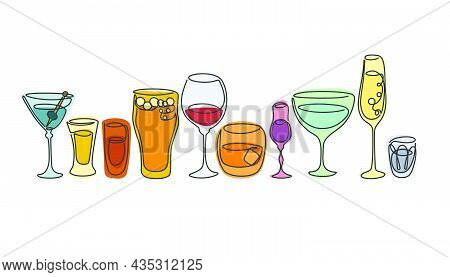 One Line Drawing Vermouth Whiskey Vodka Liquor Red Wine Tequila Champagne Rum Beer Martini Glass In