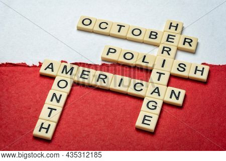 October - Polish American Heritage Month, crossword on a paper abstract in colors of Poland national flag - white and red, reminder of celebration and cultural event