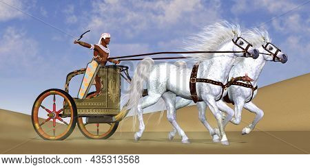 Egyptian Horse Chariot 3d Illustration - An Egyptian Warrior Rides In A Chariot With A Team Of Arabi